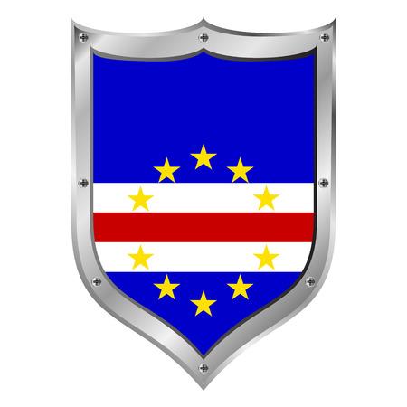 cape verde: Cape Verde flag button on a white background illustration.