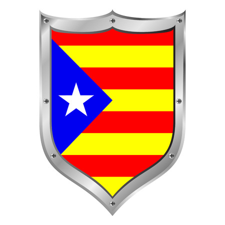 Catalonia flag button on a white background illustration. Vector