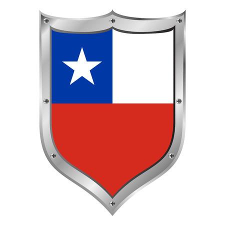 bandera de chile: Bot�n del indicador de Chile sobre un fondo blanco ilustraci�n.