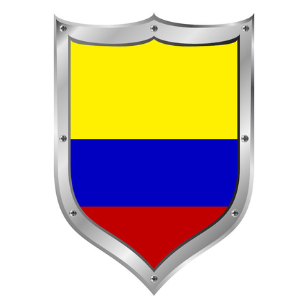 Colombia flag button on a white background illustration. Vector