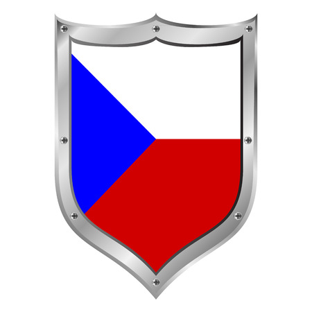 Czech Republic flag button on a white background. Vector illustration. Vector