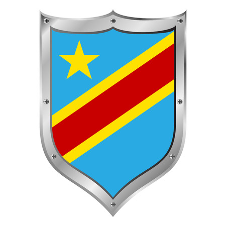 zaire: Democratic Republic of the Congo flag button on a white background illustration.
