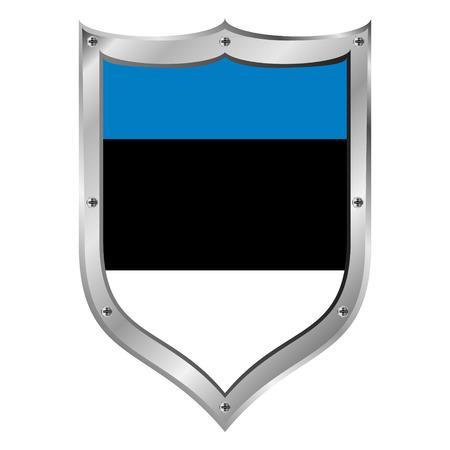Estonia flag button on a white background illustration. Vector