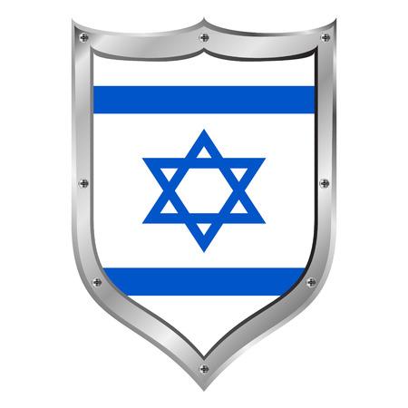 shield of david: Israel flag button on a white background. Vector illustration. Illustration