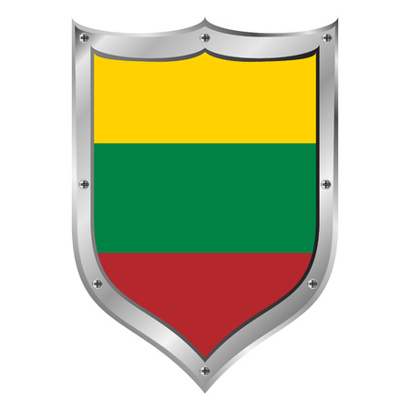lithuania flag: Lithuania flag button on a white background. Vector illustration.