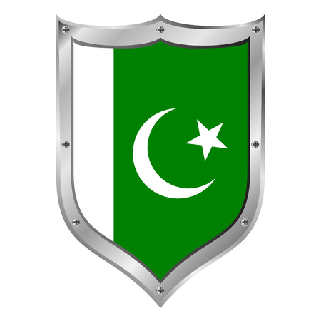 Pakistan flag button on a white background. Vector illustration. Vector