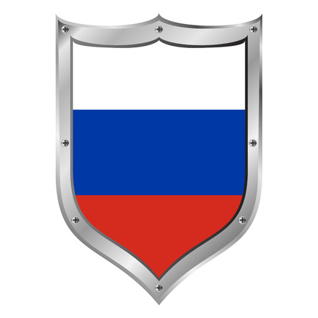 Russia flag button on a white background. The colors of the original. Vector illustration. Vector