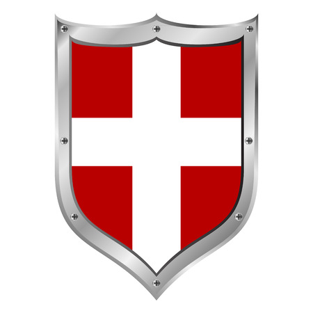 Sovereign Military Order of Malta flag button on a white background. Vector illustration.