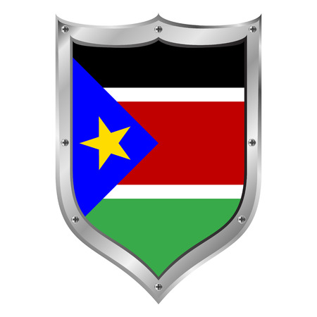 South Sudan flag button on a white background. Vector illustration. Vector