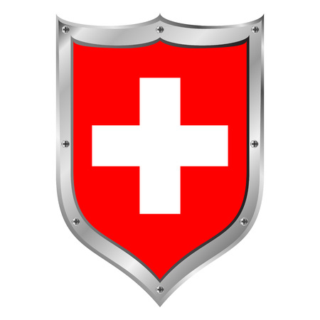 swiss flag: Swiss flag button on a white background. Vector illustration.