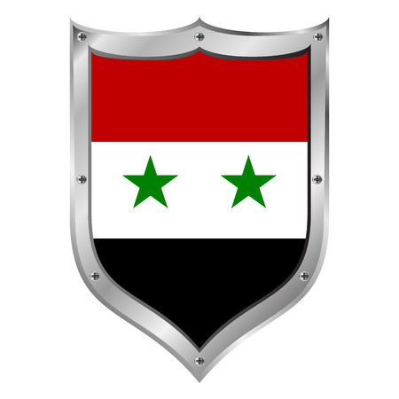 Syria flag button on a white background. Vector illustration. Vector