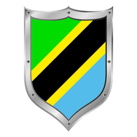 Tanzania flag button on a white background. Vector illustration. Vector