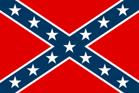 rebel: National flag of the Confederate States of America - vector illustration.