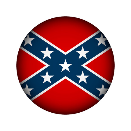 social history: National flag of the Confederate States of America button - vector illustration.