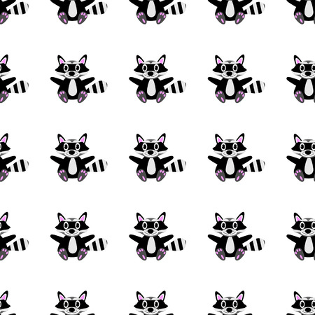 racoon: Racoon bezproblemową wzór na białym tle.