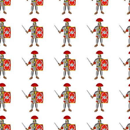 legionaries: Roman legionaries seamless pattern - illustration.