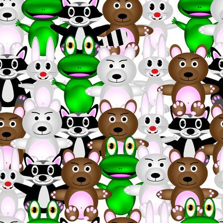 anuran: Vector seamless pattern with cartoon animals. Stock Photo