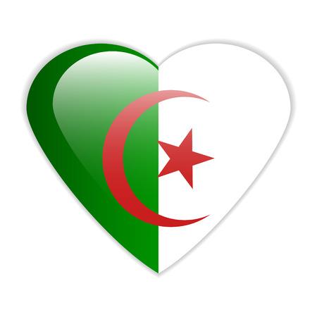 Algeria flag button on a white background  Vector illustration  Vector