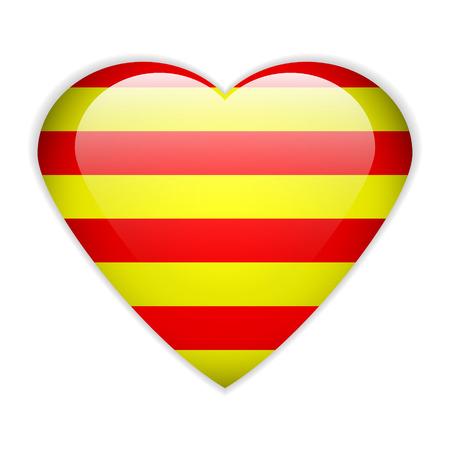 catalonia: Catalonia flag button on a white background. Vector illustration.