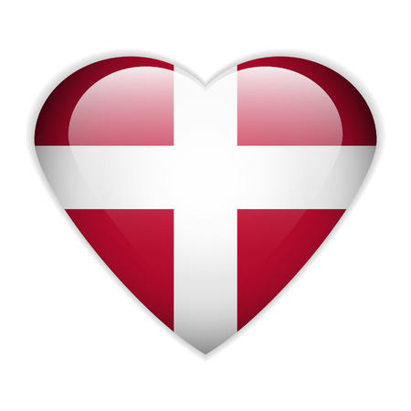 Denmark flag button on a white background. Vector illustration.