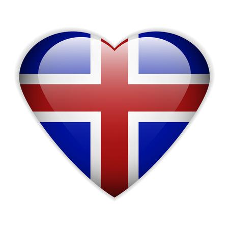 flag of iceland: Bot�n de la bandera de Islandia sobre un fondo blanco. Vectores