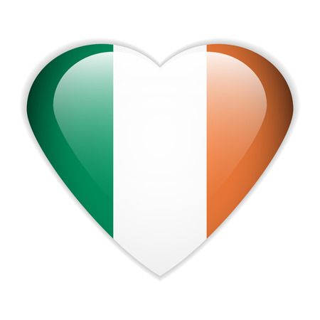 Ireland flag button on a white background. Vector