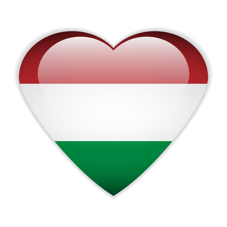 Hungary flag button on a white background.  Vector