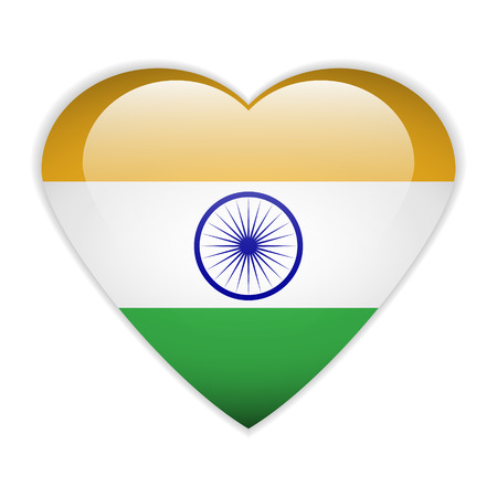 India flag button on a white background. Vector