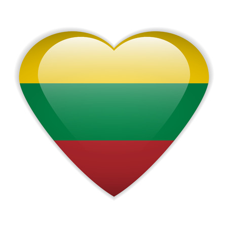 Lithuania flag button on a white background.  Vector
