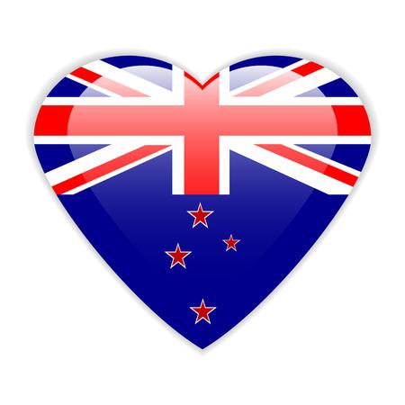 new zealand flag: Nuova Zelanda bandiera pulsante su uno sfondo bianco. Illustrazione vettoriale.