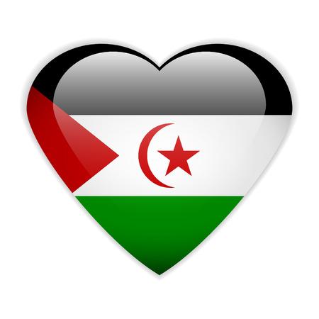 sahrawi arab democratic republic: Sahrawi Arab Democratic Republic flag button on a white background