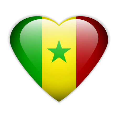 Senegal flag button on a white background Vector