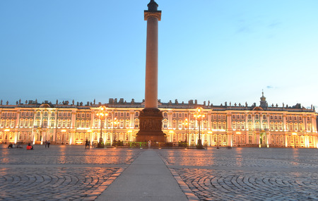 Palace Square at white night, St.Petersburg, Russia.
