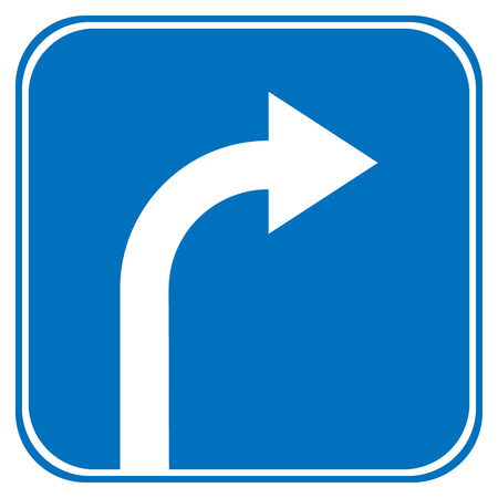 prescribed: Turn right ahead sign, blue round isolated roadside traffic sign