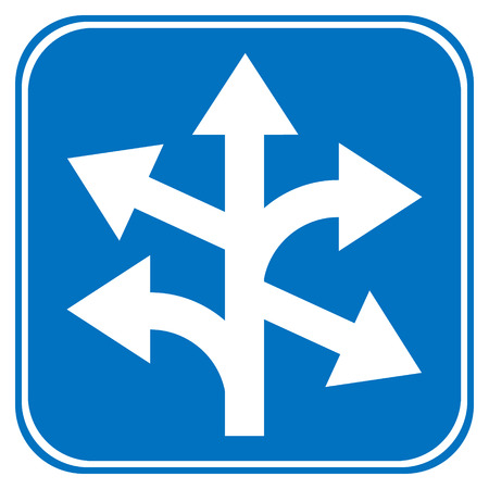 prescribed: Road sign straight, left and right on white background. Illustration
