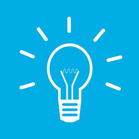 fluorescent light: Light bulb icon on blue background.