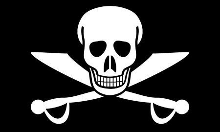 deathly: Jolly Roger flag. illustration.