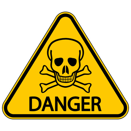 terribly: Skull and bones danger triangular sign. Vector illustration.