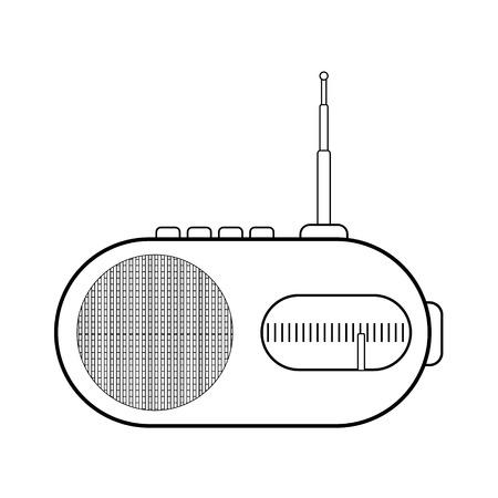 am radio: Radio icon on white background. Illustration