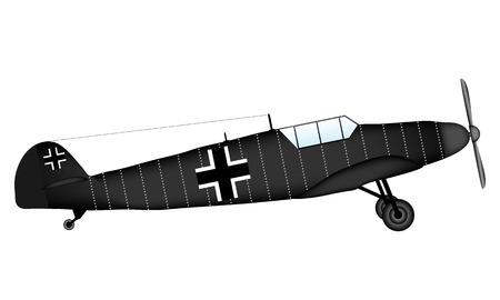 ww2: German WW2 fighter Bf 109G on white background - vector illustration. Illustration
