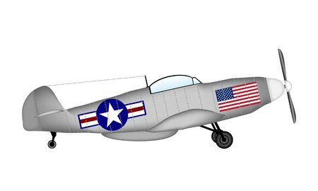 vehicle combat: P-51 Mustang -  American fighter of World War II on white background.. Vector illustration. Illustration