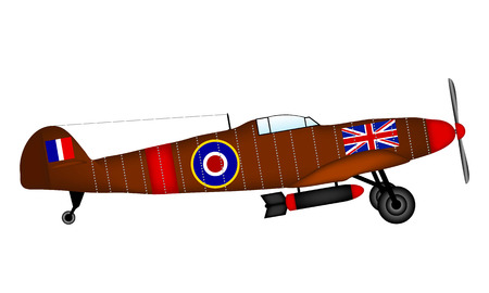 air war: Supermarine Spitfire on white - British fighter of World War II. Vector illustration.