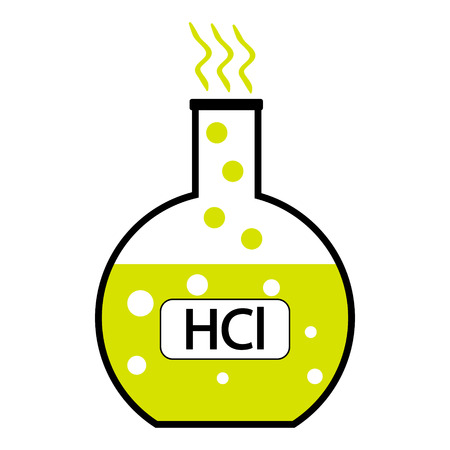 hydrochloric: Laboratory glass with hydrochloric acid on white background. Vector illustration. Illustration