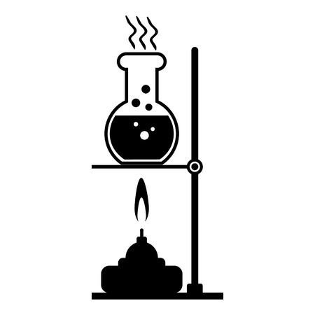 experimenting: Laboratory burner and flask on white background.