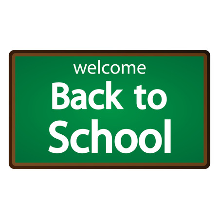 Back to school text on vector blackboard Vector