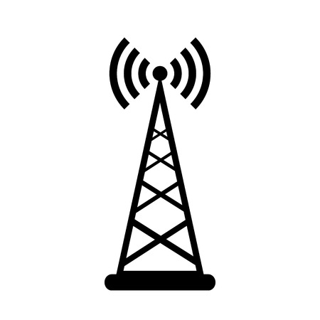 telephone mast: Transmitter icon on white background. Vector illustration.