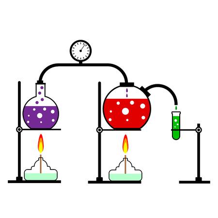 ignition: Laboratory burner and flask on white background. Vector illustration. Illustration