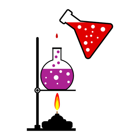 experimenting: Laboratory burner and flask on white background. Vector illustration. Illustration