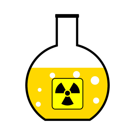 Laboratory flask with a radioactive reagent on white background. Vector illustration. Vector