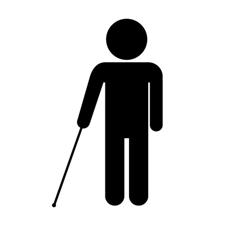 Blind disabled icon on white background. Vector illustration. Vector
